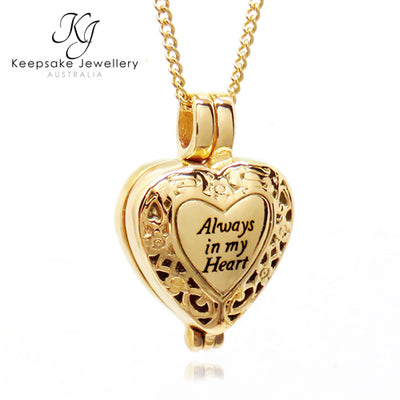 """Always In My Heart"" Locket for Ashes (Gold Stainless Steel)"