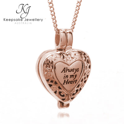 """Always In My Heart"" Locket for Ashes (Rose Gold Stainless Steel)"
