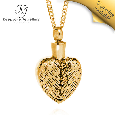 Angel Wings Heart Cremation Jewelry GSTS e