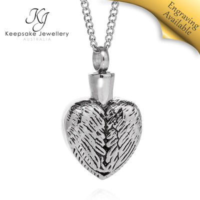 Angel Wings Heart Cremation Jewelry STS