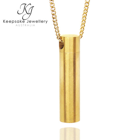 Brushed Cylinder Keepsake Pendant (Gold Stainless Steel)