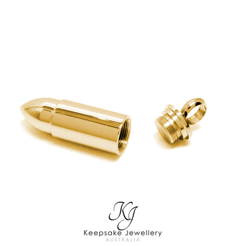 Bullet Cremation Pendant Gold Stainless Steel open