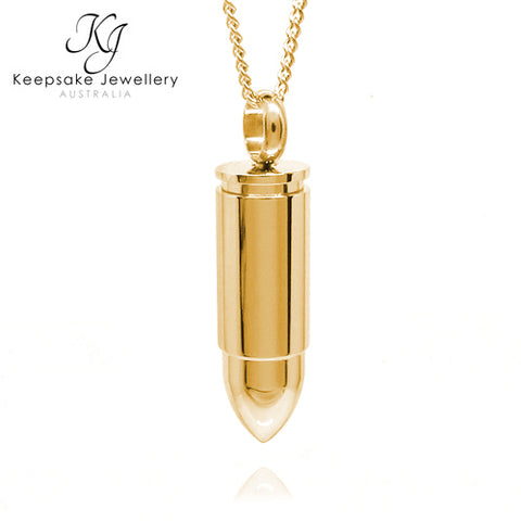 Bullet Cremation Pendant Gold Stainless Steel