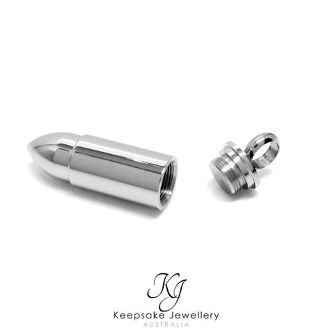 Bullet Cremation Pendant Stainless Steel open