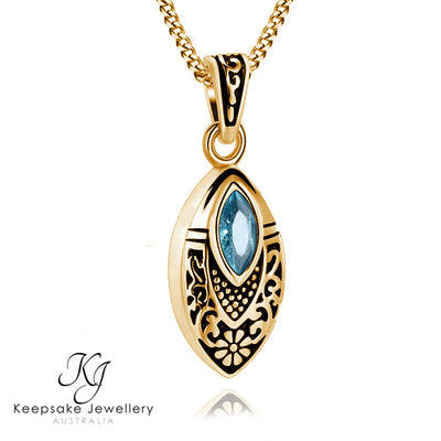 By My Side (Aqua) Ashes Pendant (Gold Stainless Steel)