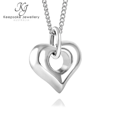 Center Heart Memorial Pendant Stainless Steel