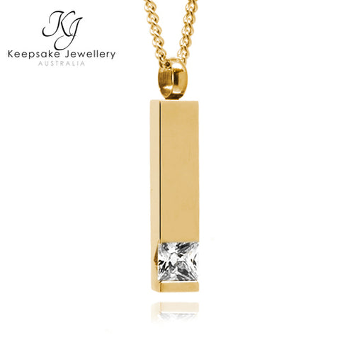 Crystal Cylinder Keepsake Memorial Pendant Gold