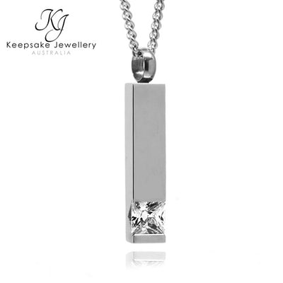Crystal Cylinder Keepsake Memorial Pendant