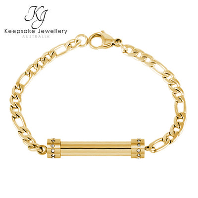 Crystal Cylinder Memorial Bracelet (Gold Stainless Steel)