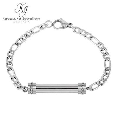 Crystal Cylinder Memorial Bracelet Stainless Steel