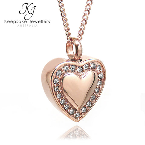 Crystal Edged Heart Memorial Pendant (Rose Gold Stainless Steel)