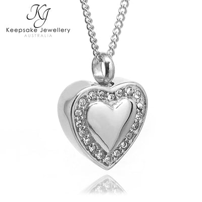 Crystal Edged Heart Memorial Pendant (Stainless Steel)