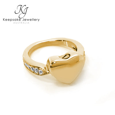 Crystal Heart Ring for Ashes Gold Stainless Steel