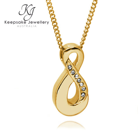 Crystal Infinity Cremation Ash Pendant (Gold Stainless Steel)