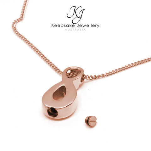 Crystal Infinity Cremation Ash Pendant Rose Gold open