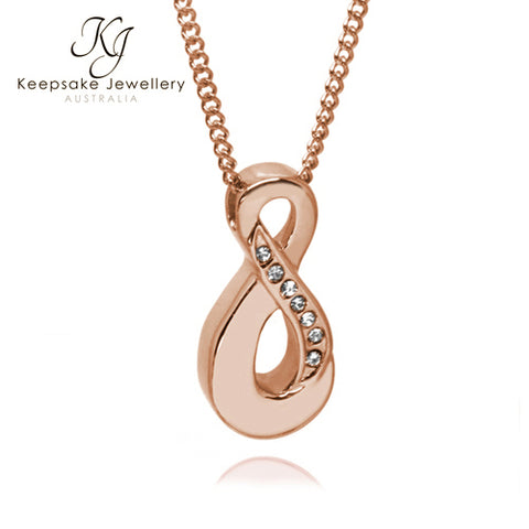 Crystal Infinity Cremation Ash Pendant Rose Gold