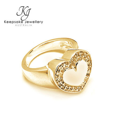 Crystal Heart Cremation Ring GV