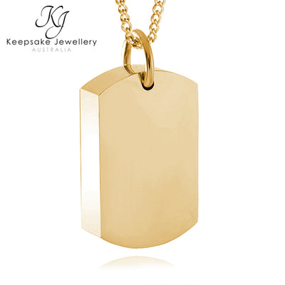 Dog Tag Necklace For Ashes (Gold Stainless Steel)