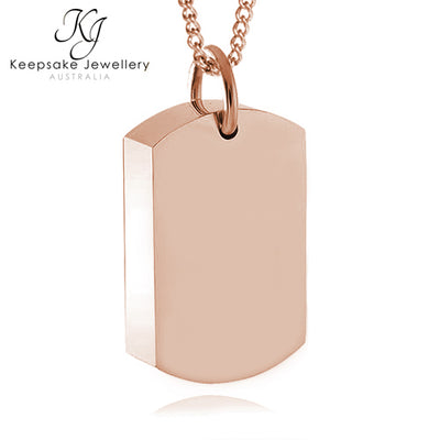 Dog Tag Necklace For Ashes (Rose Gold Stainless Steel)