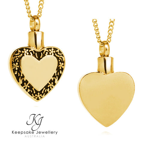 Filigree Edged Heart Cremation Pendant (Gold Stainless Steel)