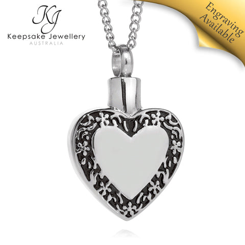 Filigree Edged Heart Cremation Pendant STS