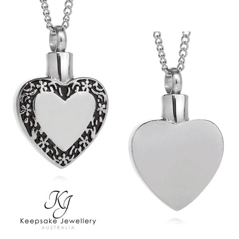 Filigree Edged Heart Cremation Pendant (Stainless Steel)
