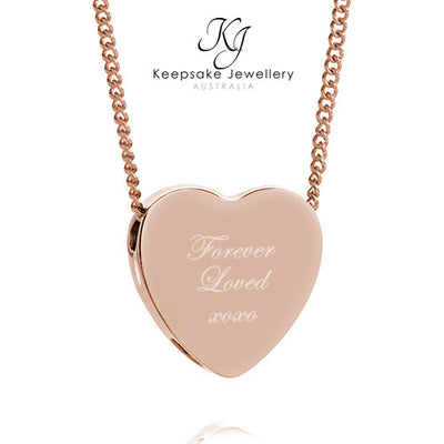 Forever Loved Memorial Heart (Rose Gold Stainless Steel)