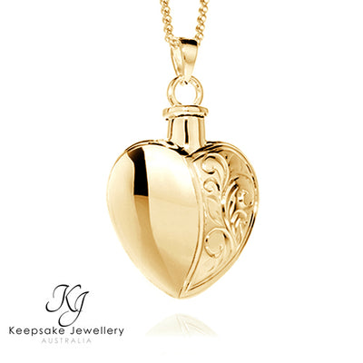 Half Etched Heart Memorial Jewellery 9ct Gold