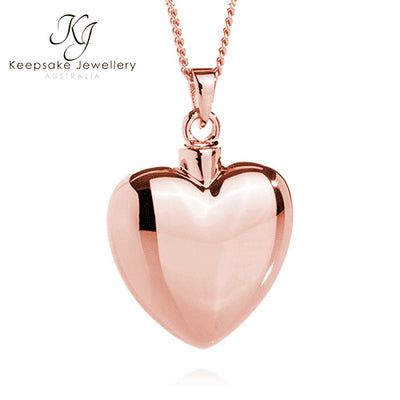 Heart Necklace for Ashes (Rose Gold Vermeil)