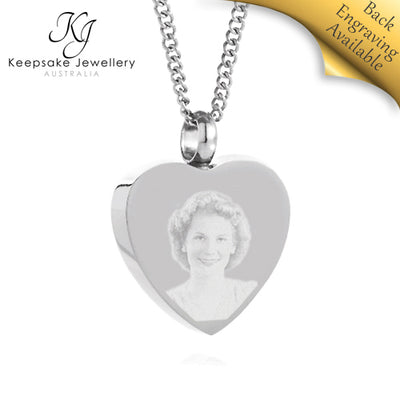 Heart Photo Cremation Jewelry STS e