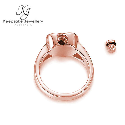 Heart Ashes Ring Rose Gold Stainless Steel open