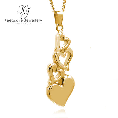 Linked Hearts Keepsake Memorial Pendant (Gold Stainless Steel)