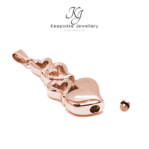 Linked Hearts Keepsake Memorial Pendant (Rose Gold Stainless Steel)