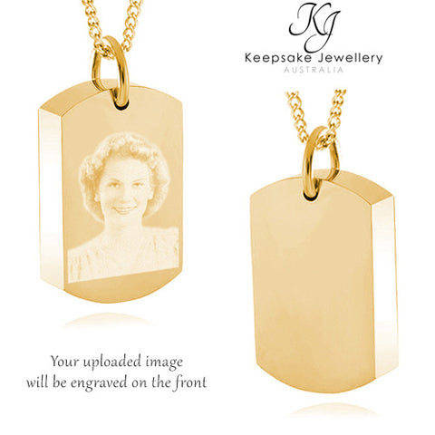 Photo Dog Tag Necklace For Ashes (Gold Stainless Steel)