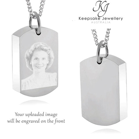 Photo Dog Tag Necklace For Ashes (Stainless Steel)