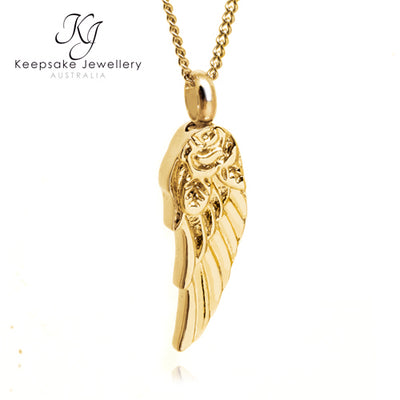 Rose Angel Wing Ashes Jewellery Gold