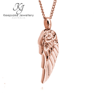 Rose Angel Wing Ashes Jewellery (Rose Gold Stainless Steel)