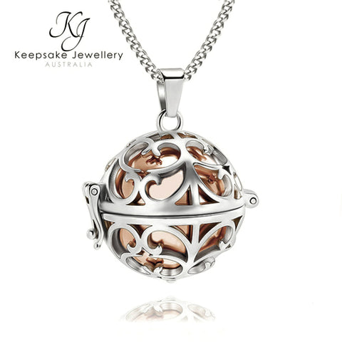 Rose Gold Orb Memorial Pendant - Large (Rose Gold Stainless Steel)