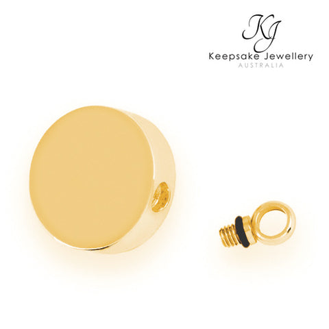Round Memorial Pendant Gold Stainless Steel open