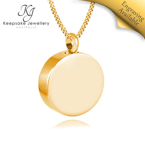Round Memorial Jewellery Pendant Gold Stainless Steel