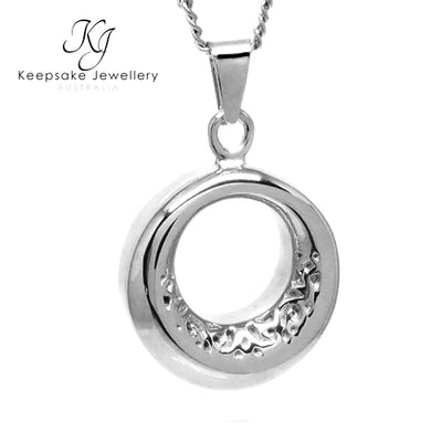 Scrolled Eternity Keepsake Memorial Pendant Silver Stainless
