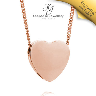 Slide Heart Necklace for Ashes (Rose Gold Stainless Steel)