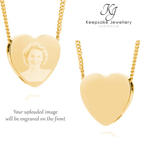 Slide Heart Photo Cremation Jewelry (Gold Stainless Steel)