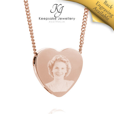 Slide Heart Photo Cremation Jewelry (Rose Gold Stainless Steel)