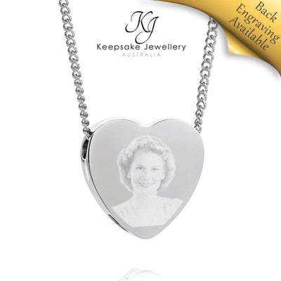 Slide Heart Photo Cremation Jewelry STS e