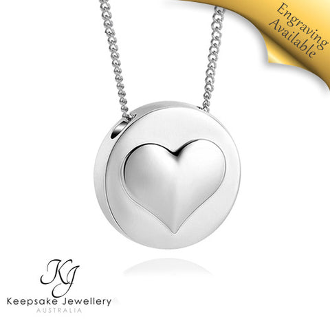 Slide Round With Heart Memorial Pendant STS eng