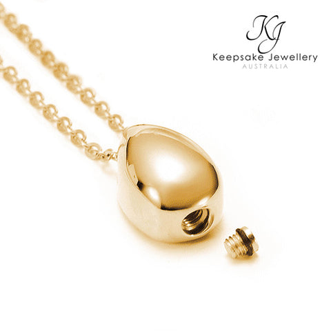 Teardrop Ashes Pendant Gold Stainless Steel open