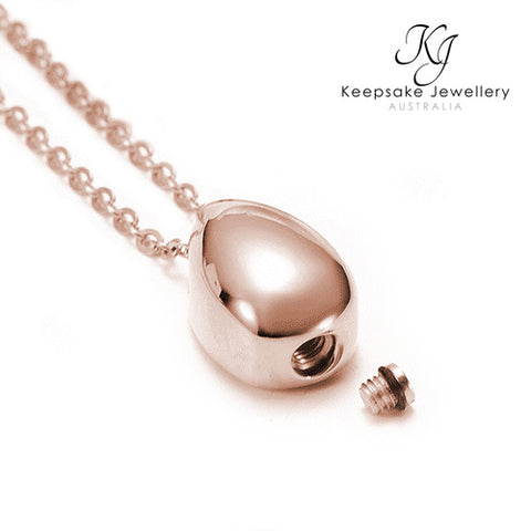 Teardrop Ashes Pendant Rose Gold Open