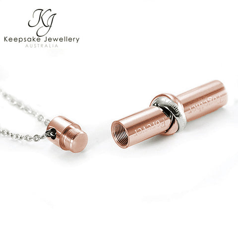 Together Cylinder Cremation Pendant (Rose Gold Stainless Steel)