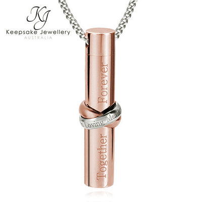 Together Cylinder Cremation Jewellery Rose Gold